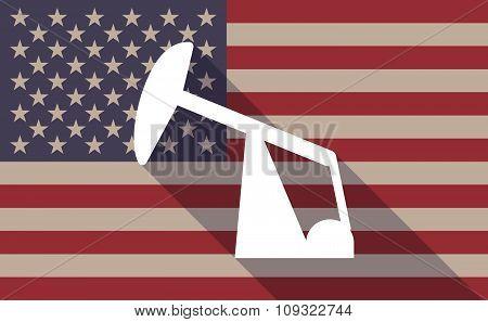 Long Shadow Vector Usa Flag Icon With A Horsehead Pump