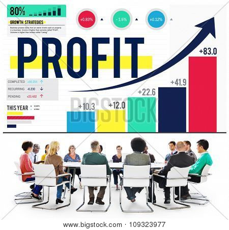Profit Finance Data Analysis Money Accumulation Concept