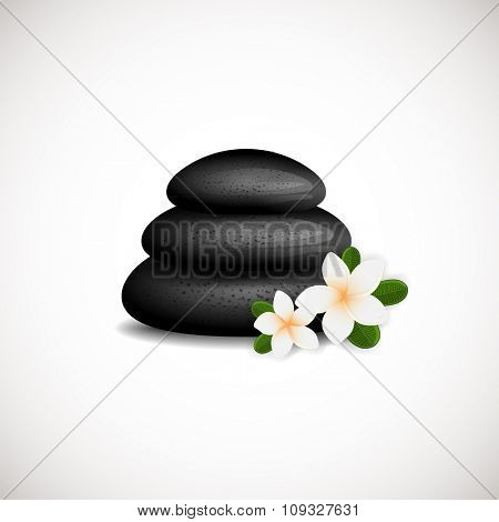 Black Spa Stones with white frangipani flowers logo design. Can be used for spa, yoga, massage center,wellness, beauty salon and medicine company