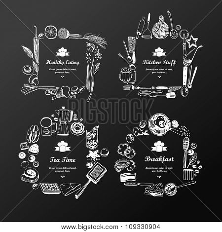 Set of frames (doodle style). fruits and vegetables, baked goods, breakfast, kitchen tools