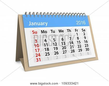 Monthly Calendar For January 2016. 3D Illustration
