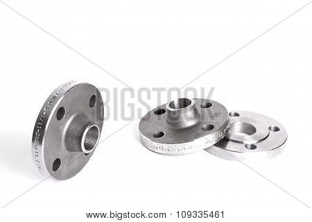 Steel welding flanges on white background. flange poster