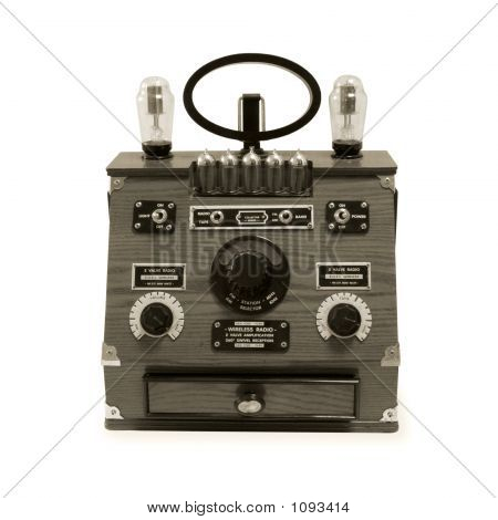 vintage radio isolated on white background and in sepia tones poster