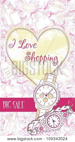 Decorative design card with wrist watches
