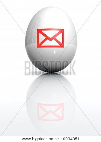 Isolated White Egg With Drawn Envelope Mark