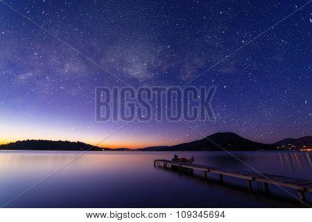 Sunrise on the bay of Nidri in Lefkas island Greece with startrail