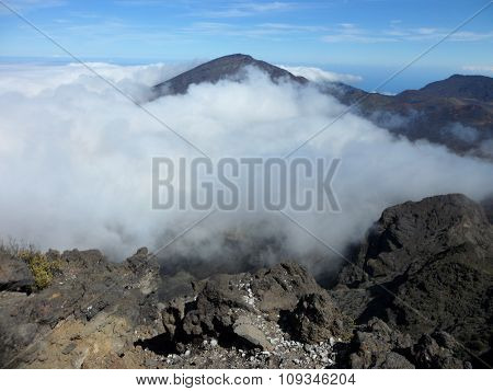 Clouds In Volcanic Crater
