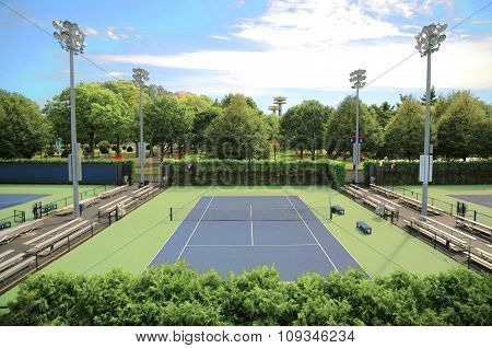 Empty small tennis court near the Arthur Ashe Stadium Queens NYC