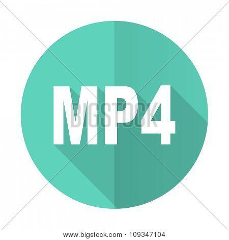 mp4 blue web flat design circle icon on white background