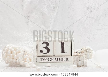 New Year Date On Calendar. December 31. Christmas Decorations. Gift Boxes With Sweets. poster
