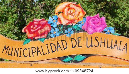 Ushuaia municipality sign