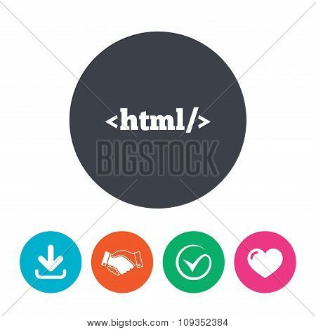 HTML sign icon. Markup language symbol.