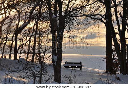 bænk i sneen, Danmark
