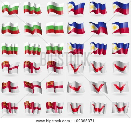 Bulgaria, Philippines, Sark, Easter Rapa Nui. Set Of 36 Flags Of The Countries Of The World.