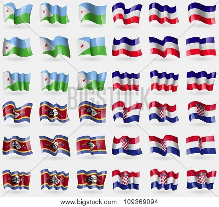 Djibouti, Los Altos, Swaziland, Croatia. Set Of 36 Flags Of The Countries Of The World.