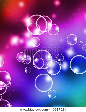 air bubbles on a soft rainbow background poster