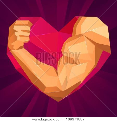 Bodybuilder's Hand With Biceps In Heart Shape. Love Sport