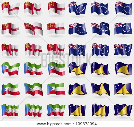 Sark, Cook Islands, Equatorial Guinea, Tokelau. Set Of 36 Flags Of The Countries Of The World. Vecto