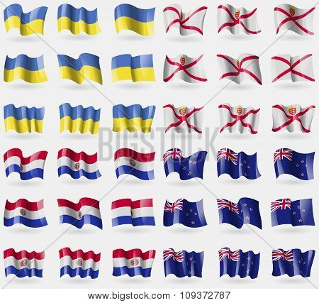 Ukraine, Jersey, Paraguay, New Zeland. Set Of 36 Flags Of The Countries Of The World. Vector