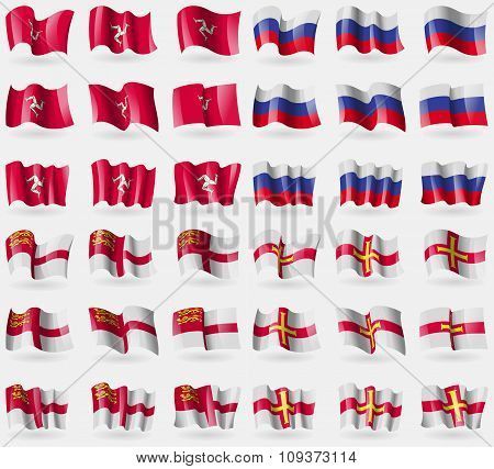 Isle Of Man, Russia, Sark, Guernsey. Set Of 36 Flags Of The Countries Of The World. Vector