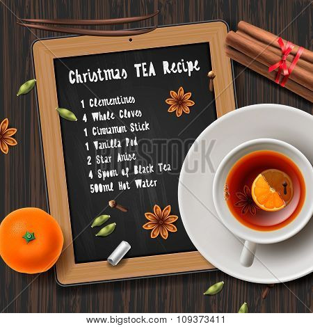 Christmas tea with spices, aromas mulled wine