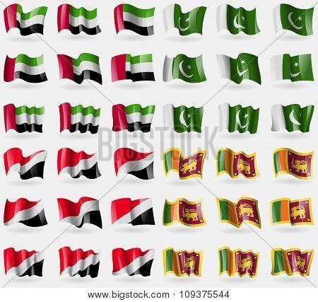 United Arab Emirates, Pakistan, Sealand Principality, Sri Lanka. Set Of 36 Flags Of The Countries Of