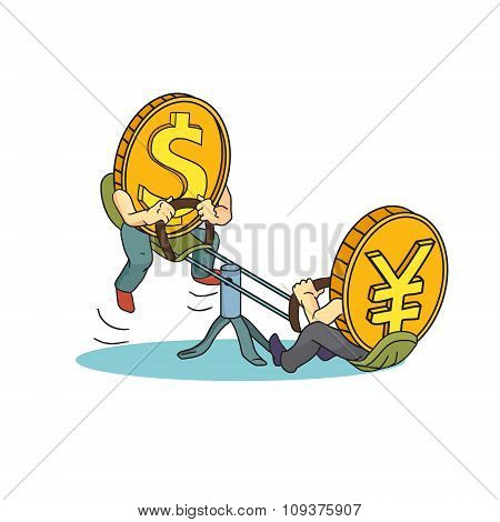 Yuan And Dollar Coins On Teeter. Yuan Vs Dollar