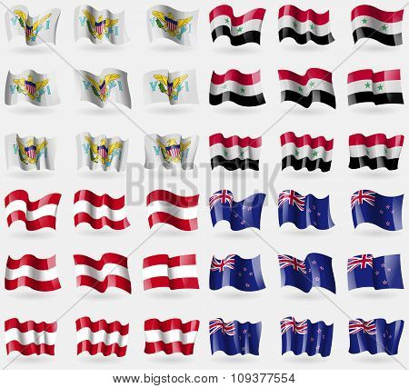 Virginislandsus, Syria, Austria, New Zeland. Set Of 36 Flags Of The Countries Of The World.