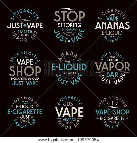 Vapor bar and vape shop typographic labels. Color print on black background poster