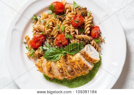 Chicken And Pasta With Pesto Cream Sauce