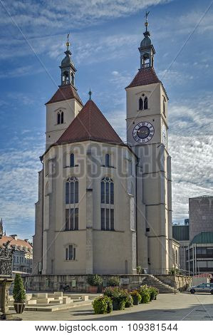 New Parish Church (Neupfarrkirche) is Protestant church in the old town of Regensburg Germany poster