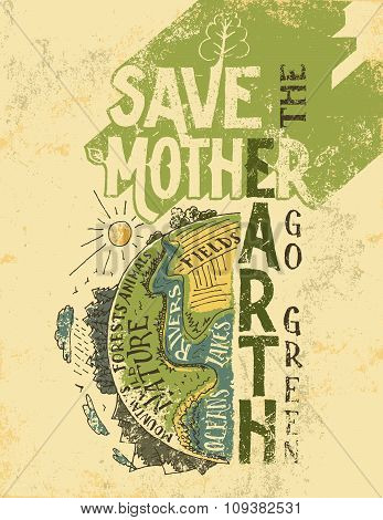 Save The Mother Earth Concept Eco Poster