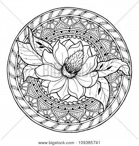 Circle summer doodle floral mandala.