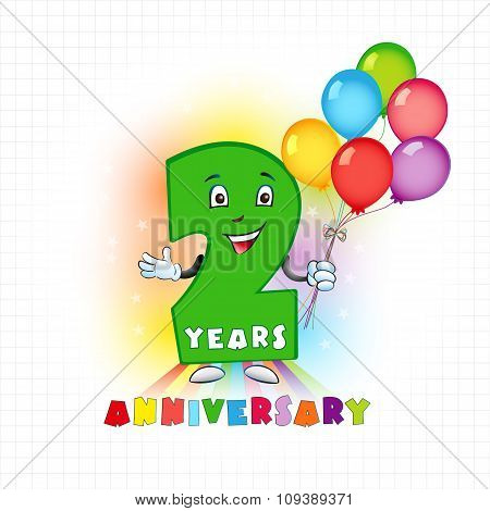 Two years old animated logotype. 2 anniversary funny logo. Kids birthday colored card with personified digit and many bright celebrating congratulating balloons. Entertaining or kid's greetings. poster