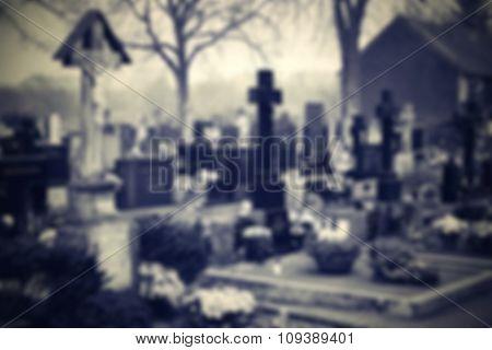 Cemetery blurred background. Halloween