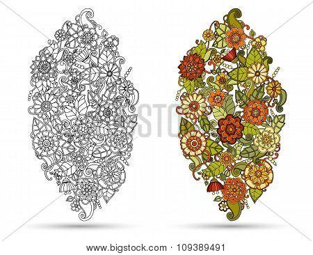 Henna paisley mehndi doodles tribal design element.
