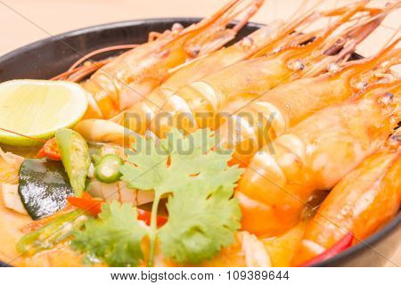 Tom Yum Goong, Thai Hot Spicy Soup Shrimp On Black Cup