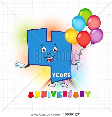 Four years old animated logotype. 4 anniversary funny logo. Kids birthday colored card with personified digit, many bright celebrating congratulating balloons. Entertaining or kid's greetings. poster