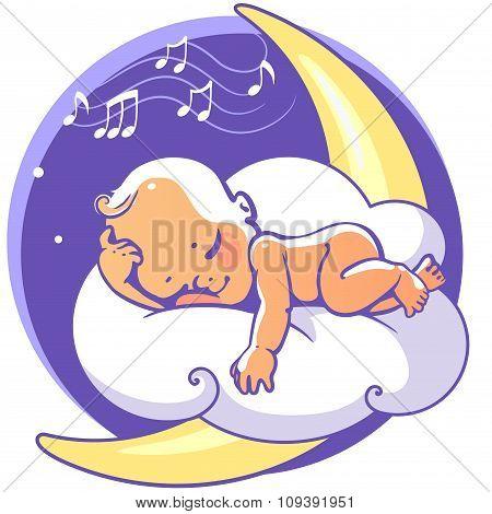 Baby sleeping on moon