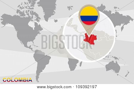 World Map With Magnified Colombia