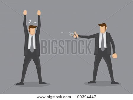 Surrender At Gunpoint Vector Illustration