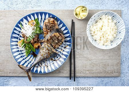 Sliced Barbecue Bonito with Vegetable poster