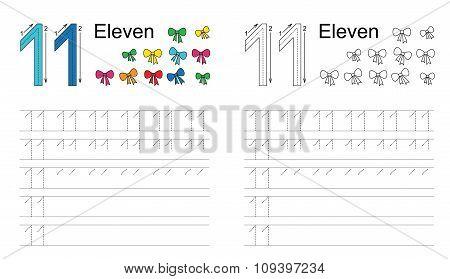 Tracing worksheet for figure eleven