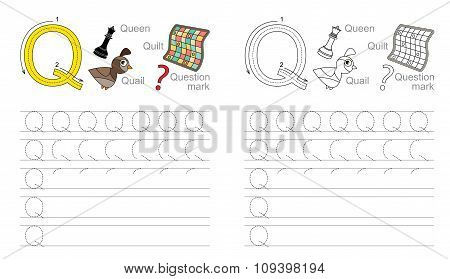 Vector exercise illustrated alphabet. Learn handwriting. Page to be colored. Tracing worksheet for letter Q poster