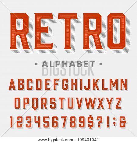 Retro vector font. Letters, numbers and symbols.