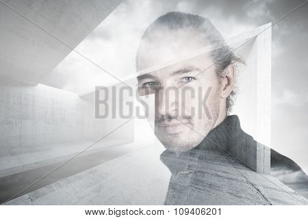 Portrait Of Man Over Abstract Constructions