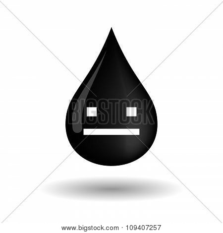 Vector Oil Drop Icon With A Emotionless Text Face