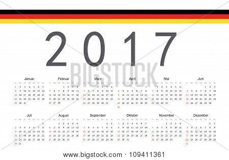 German 2017 Year Vector Calendar