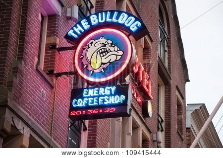Amsterdam-april 27: Amsterdam Bulldog Coffeeshop Sign-board In Red-light District On April 27,2015,