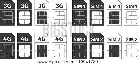 Simcard icons set